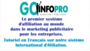 Tutoriels du système d'affiliation international Goinfopro