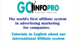 Tutorials of the Goinfopro international affiliate system